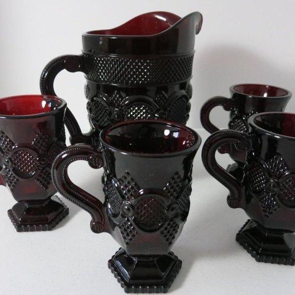 1876  Avon Cape Cod Ruby Red Glass  COFFEE OR TEA MUG